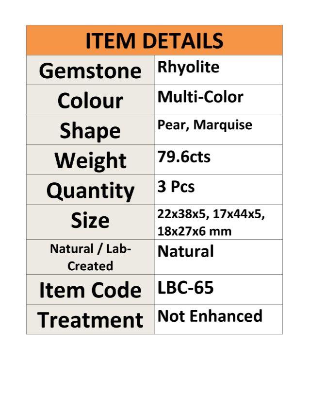 Rhyolite-Natural-Gemstone-3-Pcs-Wholesale-Lot-Cabochon-79-6ct-LBC65 thumbnail 3